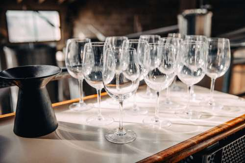 Lines Of Wine Glasses Photo