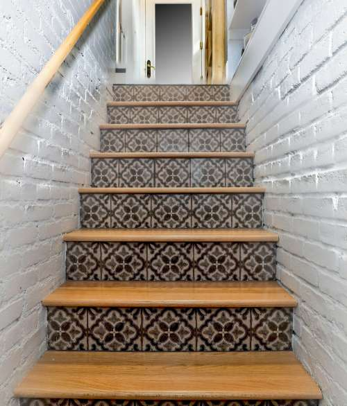 Patterned Tiles On Stairs Photo