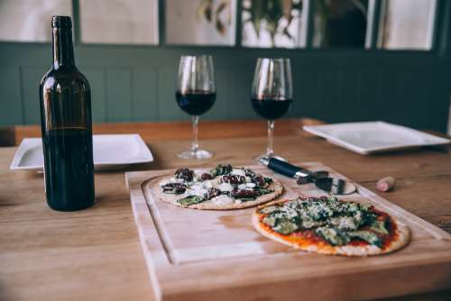 Pizza And Wine Dinner Photo