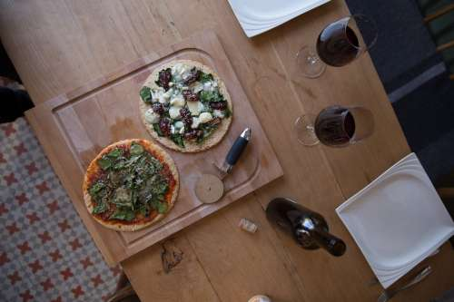 Pizza And Wine For Date Night Photo
