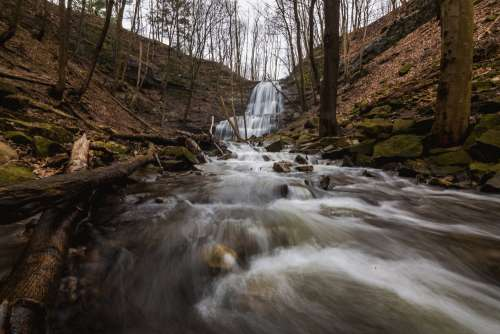 Rushing Water Flows Quickly Away From Cascading Waterfalls Photo
