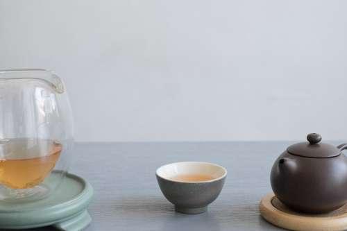 Tea Set On Grey Photo