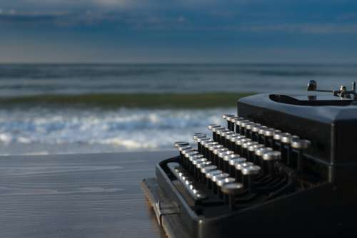 Typewriter At The Beach Photo