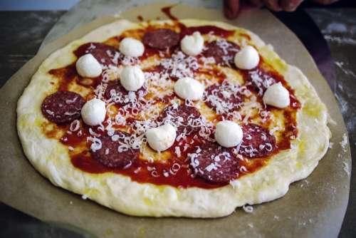 pizza home made italian pizza mozarella salami