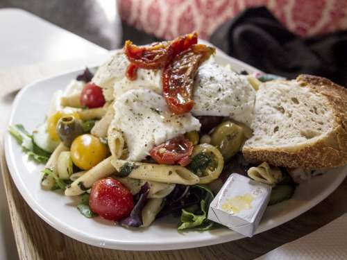 food lunch salad pasta bread
