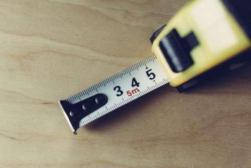 Metal tape measure tool closeup