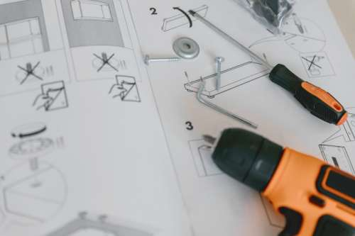 Instructions for furniture assembling with tools