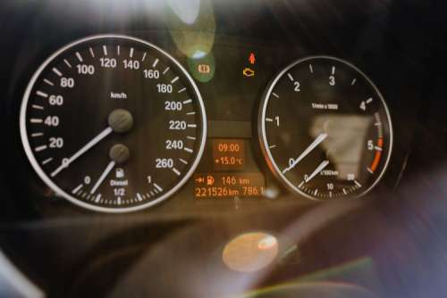 Modern car instrument panel dashboard with car dashboard. BMW E91 320d