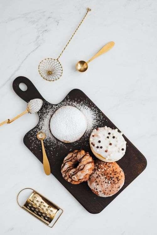 Polish Paczki Donut with Powdered Sugar