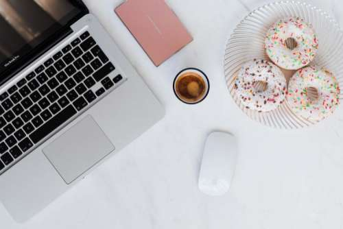 Macbook Laptop, donuts & coffee