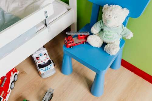 Children's room with bed and toys