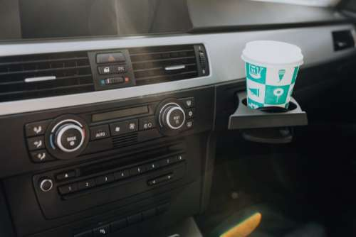Car ventilation system and air conditioning with coffee in handle, BMW E91 320d
