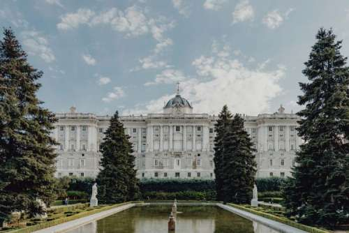 Royal Palace and Sabatini garden in Madrid, Spain