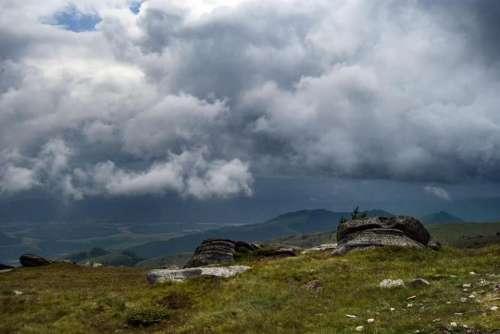 landscape mountains clouds rocks