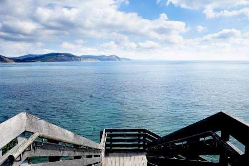 sea bay steps wooden slats