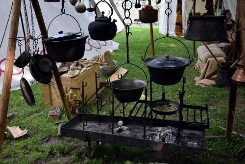 medieval market medieval event camp campfire cookware