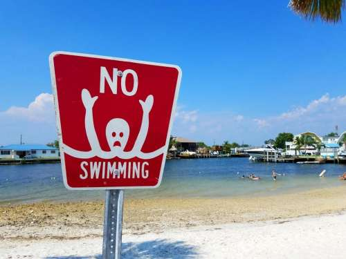 no swimming alien sign humor information