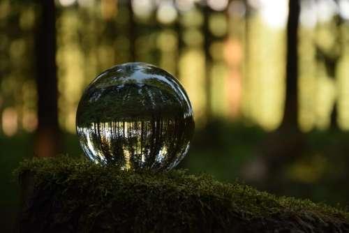 glass sphere landscape reflection mirage reflexion