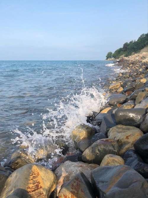 sea waves stones coast spray