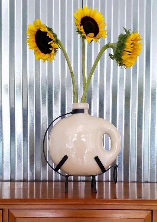 Sunflowers contemporary vase metal industrial