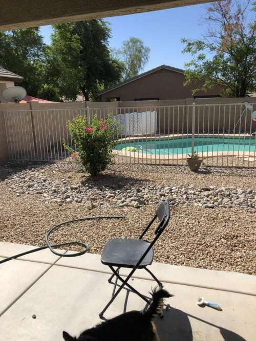 pool backyard fence folding chair yard