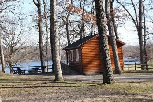 Log cabin csbin park outdoors