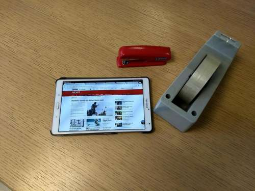 business tablet desk office brochure