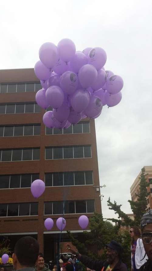balloons purple balloons building city Lancaster City