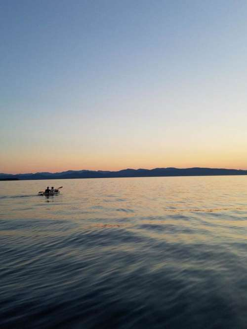 Kayaking kayak mountains sunset lake