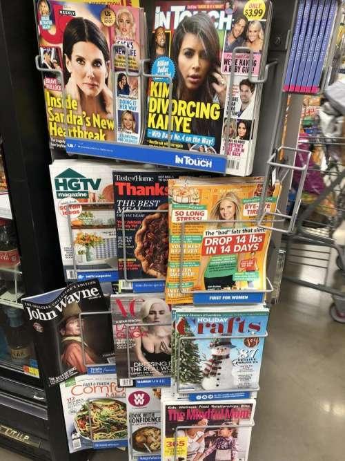 magazine magazine rack magazines rack grocery store shop