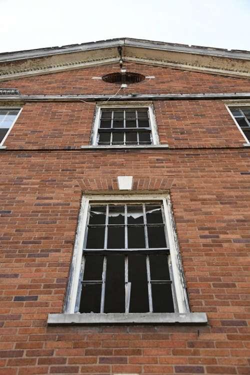 Abandoned Antique Building Broken Glass Window