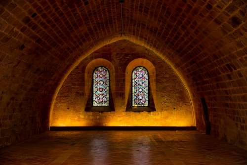 Abbey Church Building Stone Old Interior Darkness