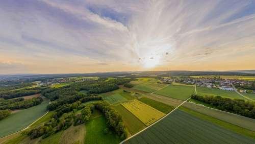 Aerial View Switzerland Sunset Fields Evening