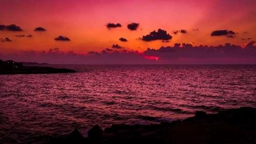 Alexandria Sea Sunset Egypt Travel Summer Sky
