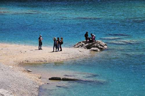 Alpine Lake Blue Flims Water Mountain Beach Rocks