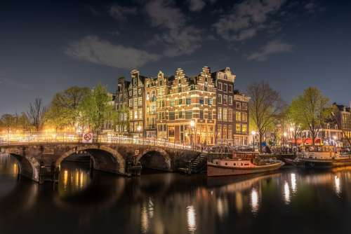 Amsterdam Bridge Netherlands Holland Channel City