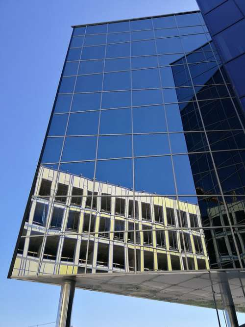 Architecture Glass Blue Building Modern Façade