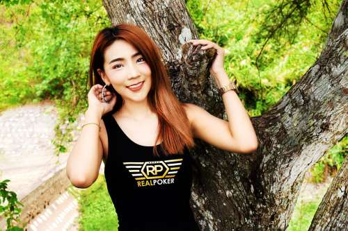 Asian Woman Tree Posing Nature Green Tree Trunk