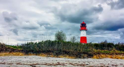 Baltic Sea Lighthouse Tower Clouds Beach Vacations