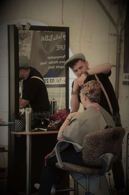 Barber Hairstyle Scissors Hairdresser Old Style
