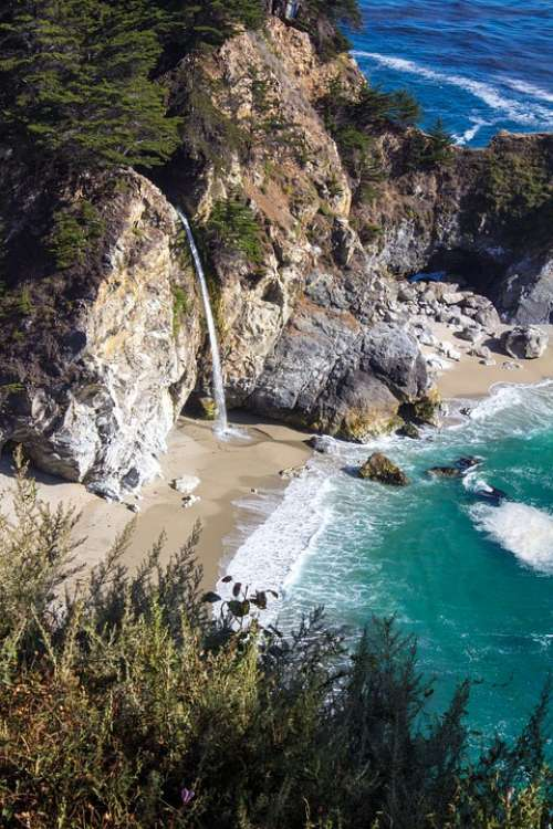 Beach Waterfall Coastal California West Coast Sea