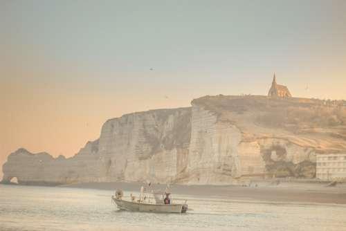 Beach Coast Cliffs France Etretat Channel Boat