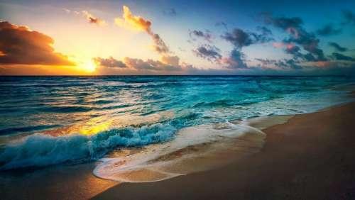 Beach Sun Evening Summer Sea Vacation Ocean