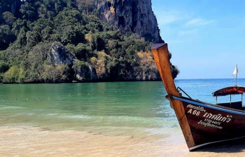 Beach Thailand Krabi Longtail Boat Island Sea