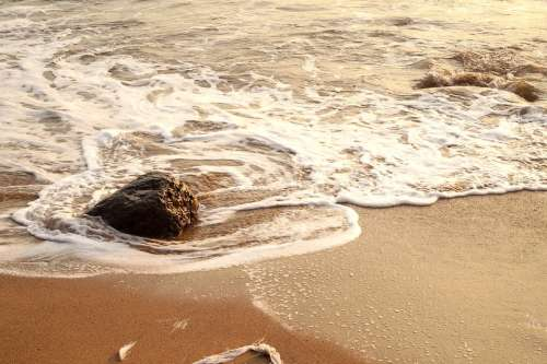 Beach Water Holiday Sand Wave Rocks Sea Summer