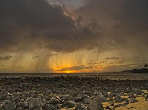 Beach Storm Sunset Ocean Sea Clouds Sky Weather