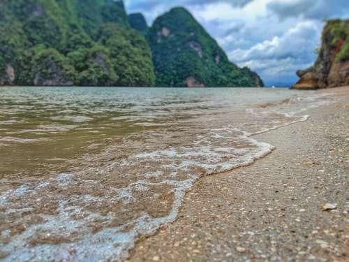Beach Thailand Water Sand Bay Mountains Trees