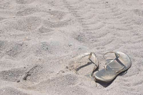 Beach Sand Gold Flip Flops Vacation Relaxation