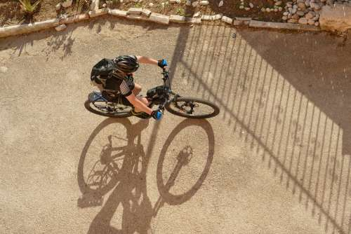 Bicycle Cyclist Mountain Bike Above Sports Cycling