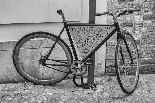 Bicycle Black White Retro Vintage Barber